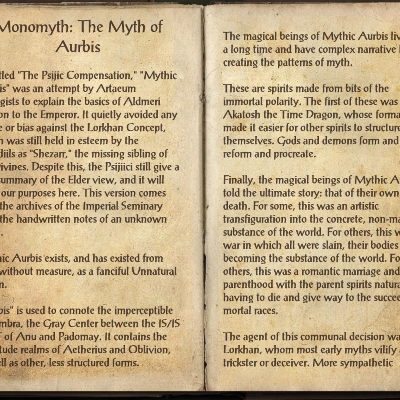 Elder Scrolls Close Reads: The Monomyth, the Myth of the Aurbis