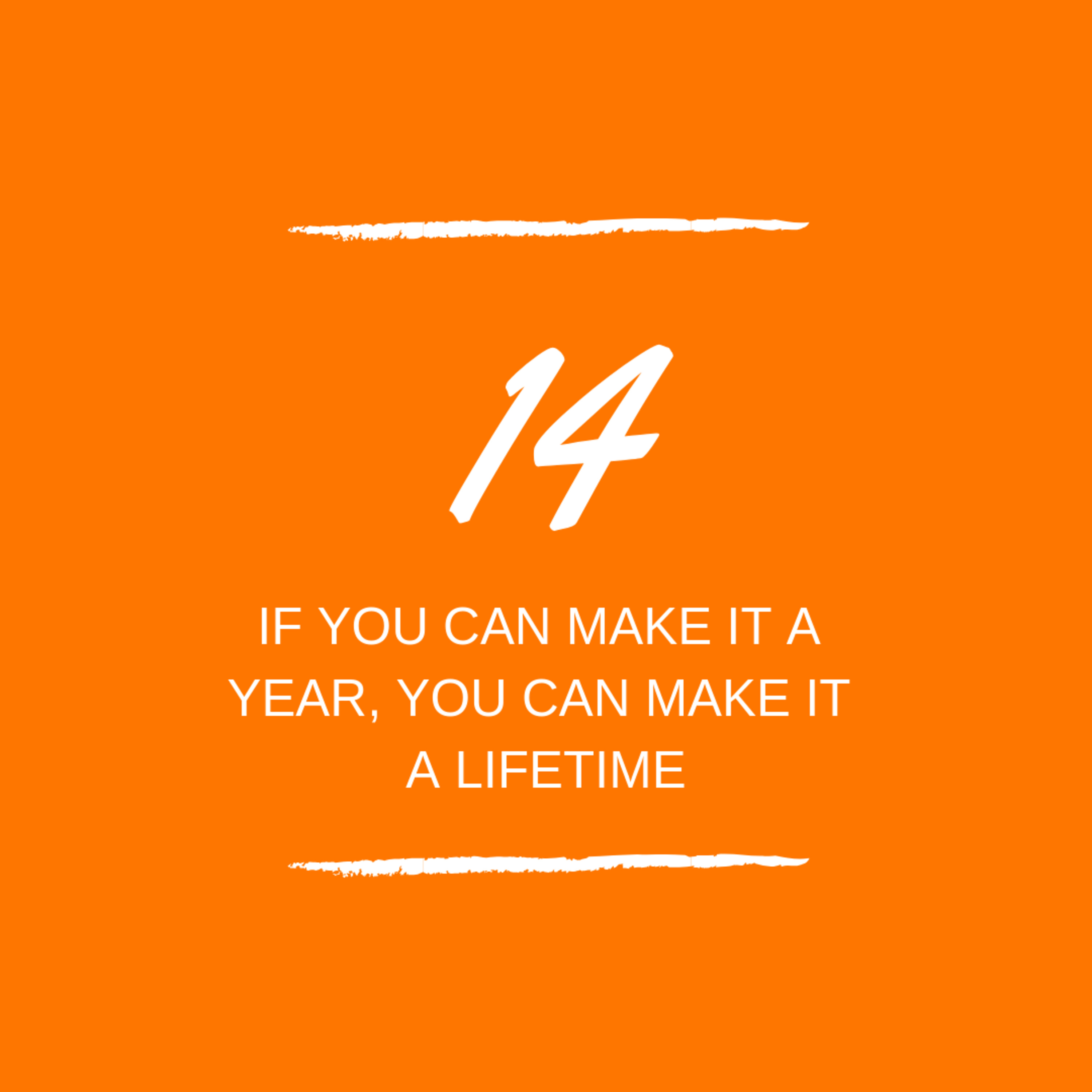 Day 14 : 📠 If you can make a year you can make a lifetime