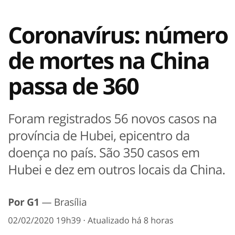 Já são 361 mortes causadas pelo CORONAVIRUS na China