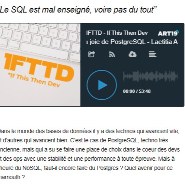 PostgreSQL - un lien vers l'épisode de IFTTD