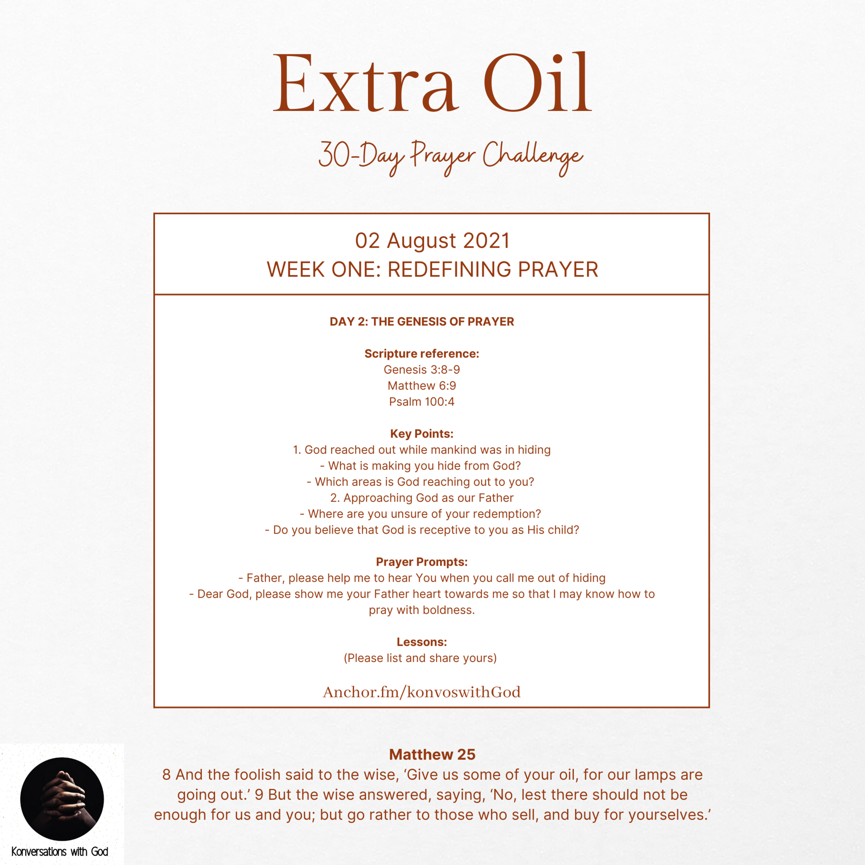Extra Oil Day 2: The Genesis of Prayer